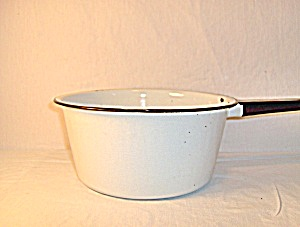 Vintage Enamelware White & Black Large Sause Pan