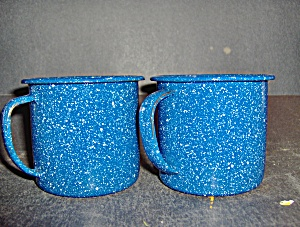 Vintage Grainteware Enamelware Blue & White Coffee Mugs