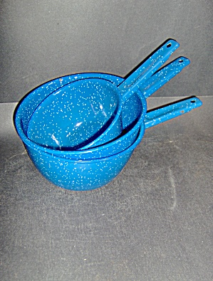 Enamelware Graniteware 3 Pans & Spoon Blue Specked