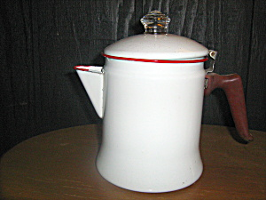 Vintage Enamelware White/red Trim Coffeepot