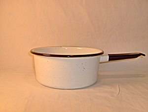 Vintage Enamelware White & Black Medium Sauce Pan