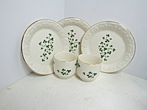 Carrigdhour Pottery Co-op Shamrock Cup & Plate Set