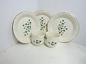 Carrigdhour Pottery Co-op Shamrock Cup & Plate Set (Image1)
