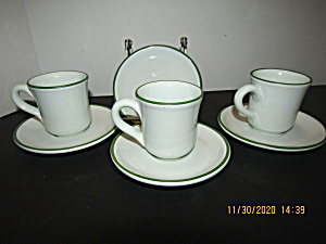 Gallo Design White With Green Trim Cup & Saucer Set