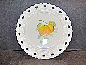 Vintage Milk Glass Hand Painted Plate
