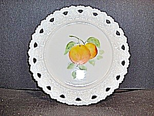Vintage Milk Glass Hand Painted Plate (Image1)