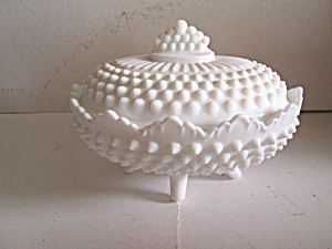 Vintage Hobnail Covered Candy Milk Glass Dish