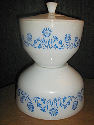 Federal Glass Heavy White Corn Flower Blue Mixing Bowl