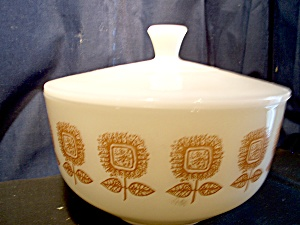 Federal Glass Covered White Square Brown Flower Bowl