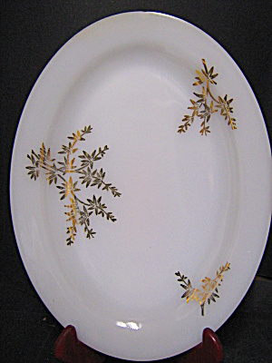 Federal Glass Milk Glass With Gold Leaf Plater