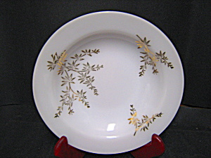 Federal Glass Milk Glass With Gold Leaf Soup Bowl