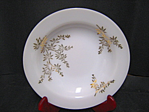Federal Glass Milk Glass Gold Leaf Soup Bowl