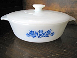 Vintage Fire King Cornflower 1 Quart Covered Casserole