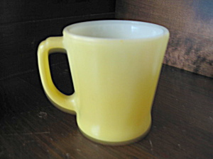Yellow Fire King Notched D Handle Mug