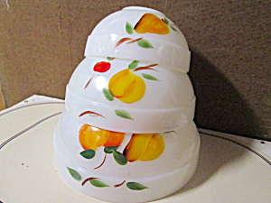 Vintage Fire King Gay Fad Fruit Mixing Bowl Set