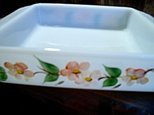 Vintage Fire King Cake Pan Gay Fad Blossom