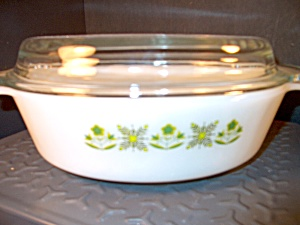 Fire King Covered Casserole Meadow Green Clear Lid