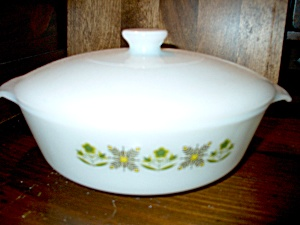 Fire King Covered Casserole Meadow Green White Lid
