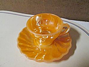Peach Lusterware Shell Demitasse Cup/saucer Set