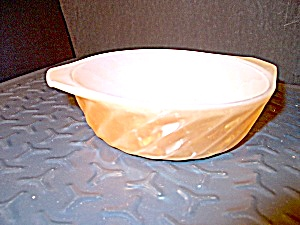 Fire King Peach Lusterware Swirl Handled Bowl