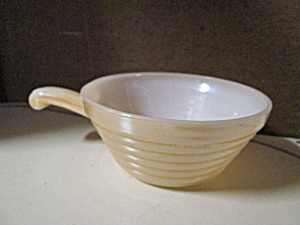 Fire King Peach Lusterware Handled Soup Bowl