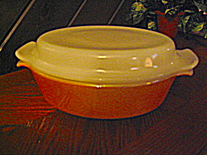 Anchor Hocking Fire King Peach Luster Covered Casserole