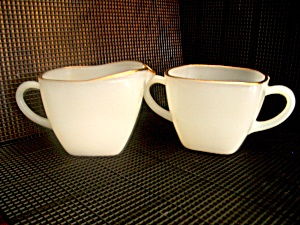 Fire King Square Sugar Bowl And Creamer Set