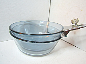 Vintage Pyrex Blue Flameware Three Piece Pan Set
