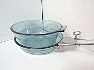 Vintage Pyrex Blue Flameware Skillet/ Pan Set