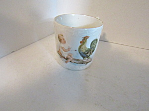 Antique Childrens Mug Rooster With Child On Bench