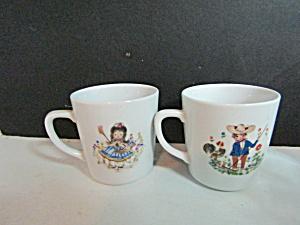 Vintage Children Country Girl & Boy China Mug Set  (Image1)