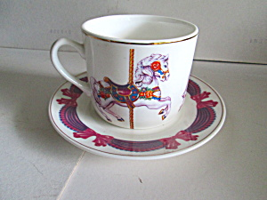 Vintage Teleflora Merry-go-round Cup And Saucer Set