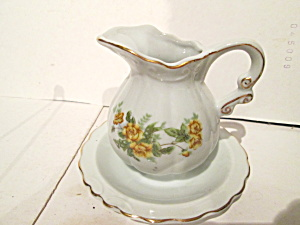 Arrow Yellow Floral Mini Pitcher And Underplate