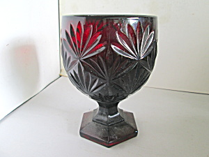 Vintage Ruby Glass Starburst Candy Dish Compote