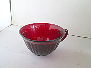 Vintage Anchor Hocking Ruby Red Ribbed Coffee Cup