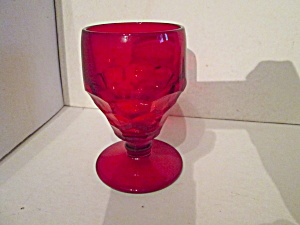 Vintage Ruby Glass Stemmed Thump Print Goblet