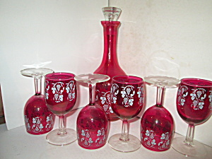 Vintage Ruby Red Grape Vine Wine Decanter Set