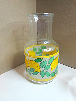 Vintage Glass Lemon & Leaf Juice Carafe