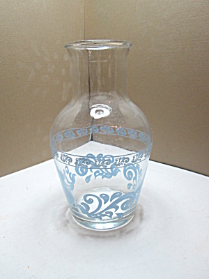 Vintage Glass Blue Scroll Small Juice Carafe