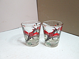 Vintage Hazel Atlas Pheasant Shot Glass Set