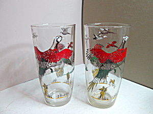 Vintage Hazel Atlas Pheasant Tall Beverage Glass Set