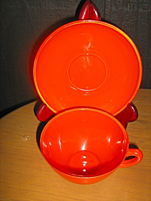 Anchor Hocking Rainbow Tangerine Cup & Saucer Set