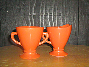 Vintge Hazel Atlas Orange Sugar & Creamer Set
