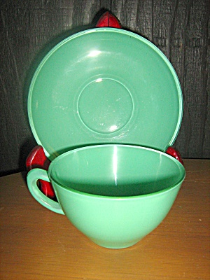 Anchor Hocking Rainbow Green Cup & Saucer