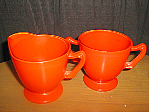 Anchor Hocking Rainbow Tangerine Sugar & Creamer