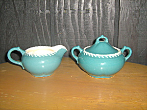 Harkerware Celadon Green Covered Sugar & Creamer Set