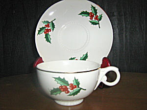 Hall Dinnerware Christmas Holly Cup And Saucer Set