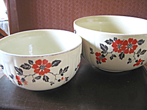Vintage Hall Red Poppy Stacking Mixing Two Bowl Set
