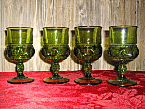 Indiana/colony Green Thumbprint Set Of 4 Wine Goblets