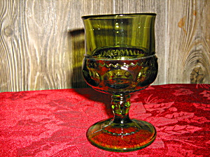 Indiana/colony Green Thumbprint /crown Wine Goblets